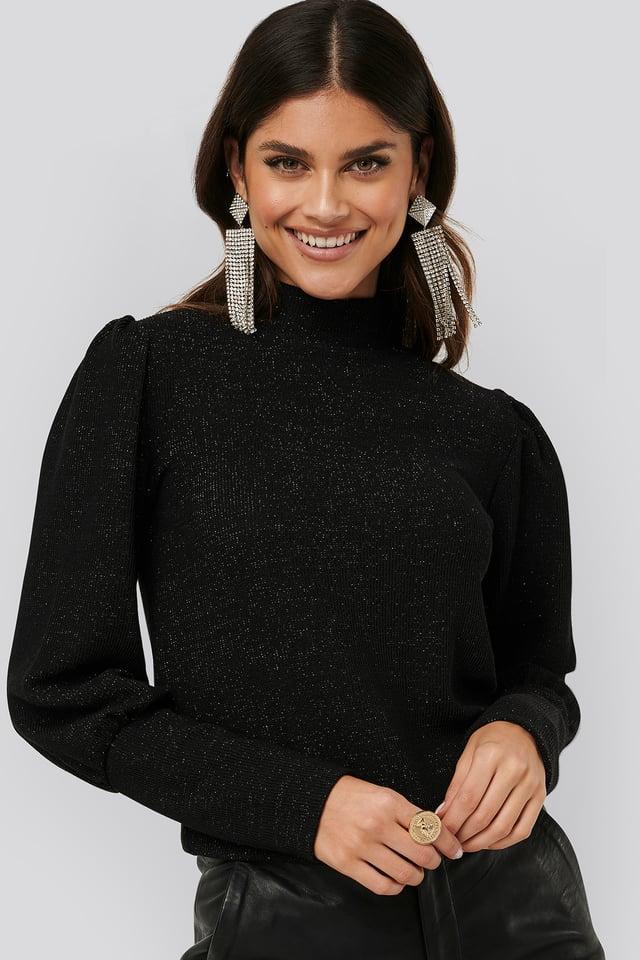 Black Lurex Knit Blouse