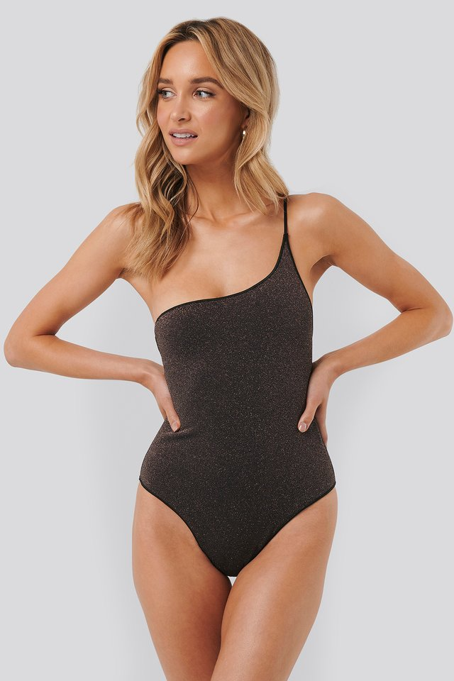 Lurex One Shoulder Swimsuit Bronze