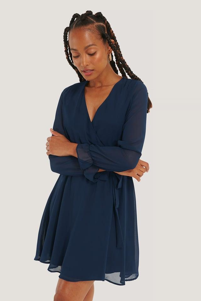 Mesh Contrast Mini Dress Navy