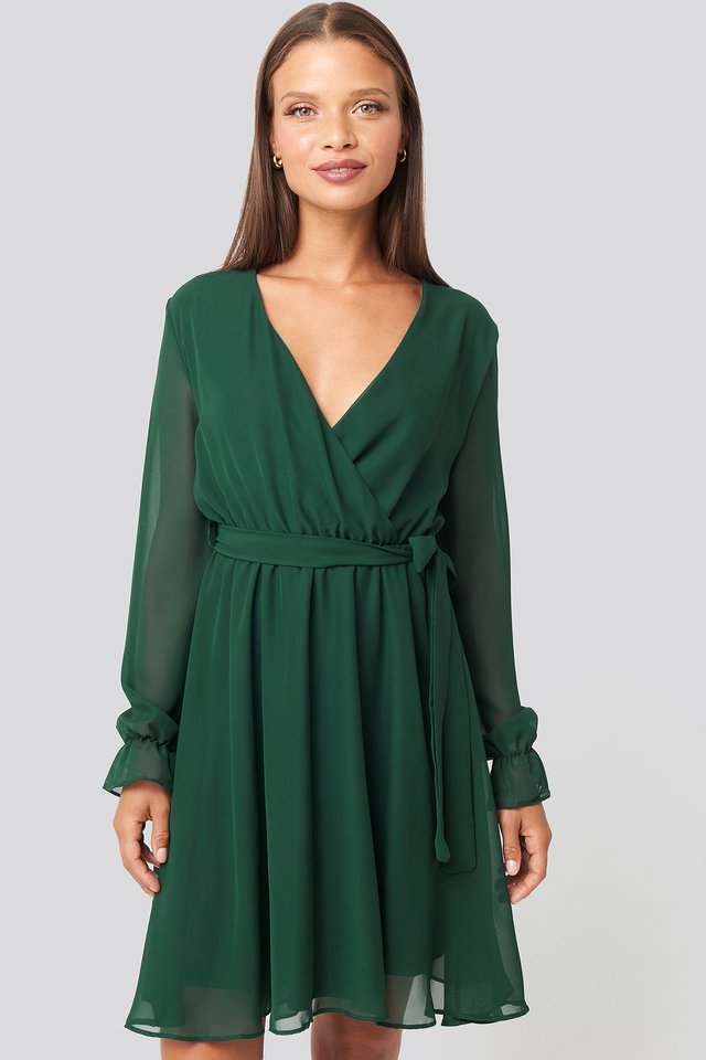 Mesh Contrast Mini Dress Emerald Green