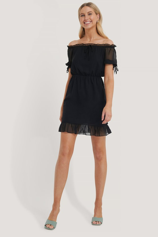 Mesh Detail Mini Dress Black