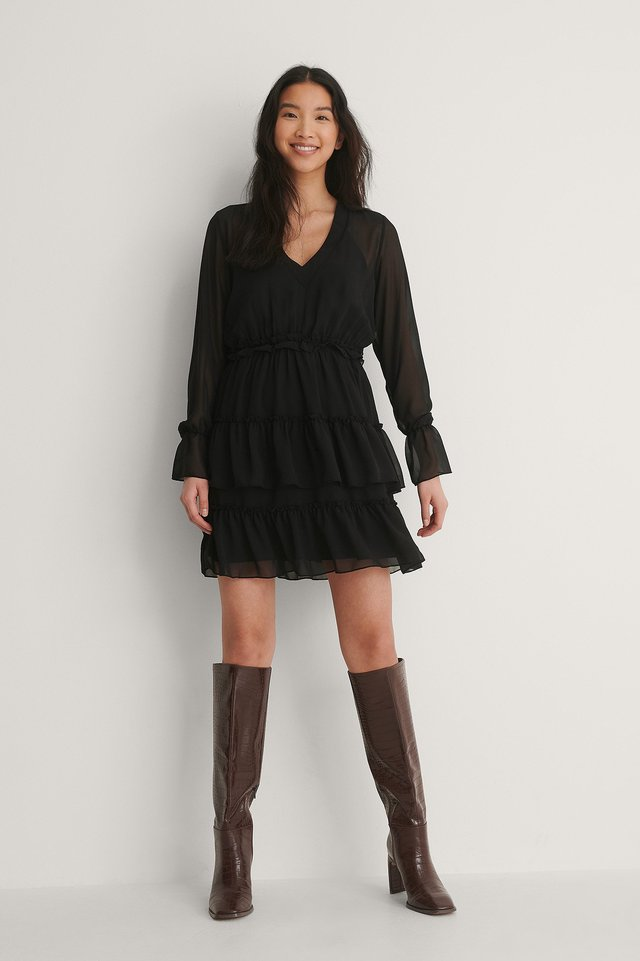 Black Mesh Mini-Jurk