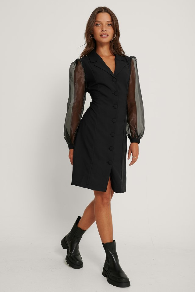 Mesh Sleeve Midi Dress Black