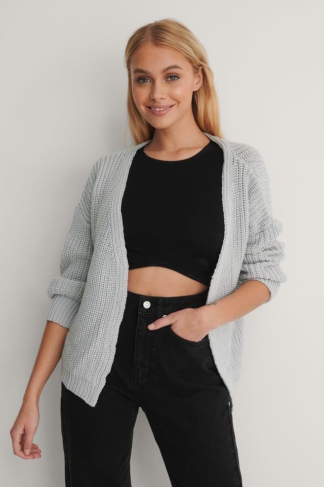 Gray Milla Knit Cardigan