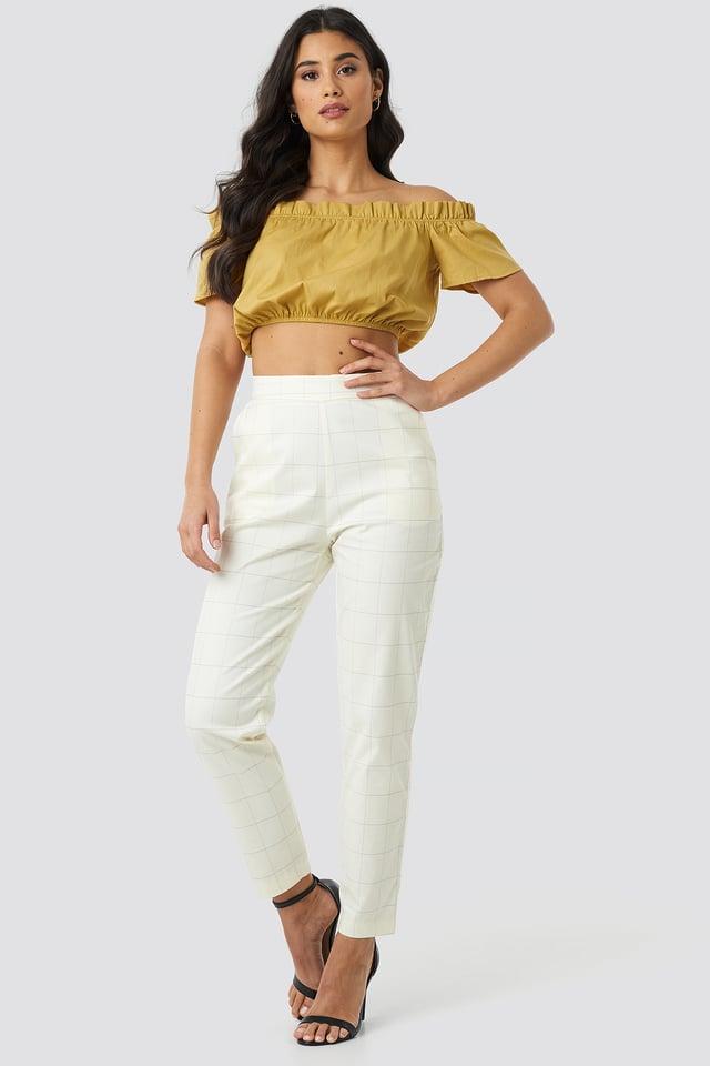 Milla Plaid Pants White