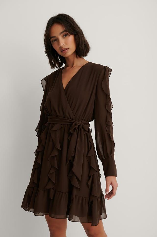 Milla Ruffle Detail Mini Dress Brown