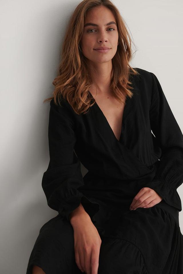 Vestido Midi Suelto Con Detalles Fruncidos Black