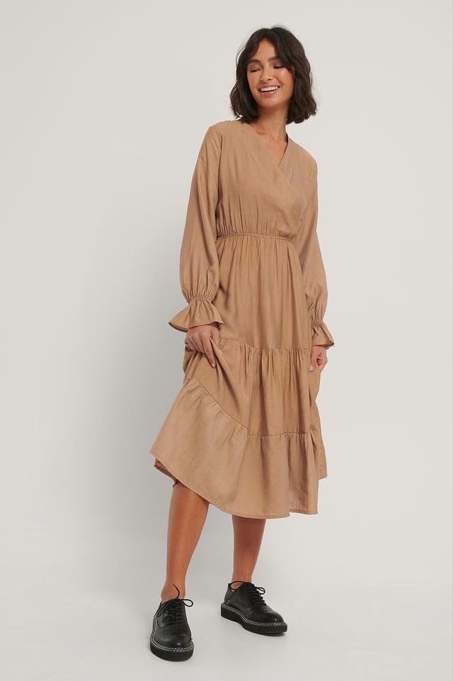 Milla Ruffle Midi Dress Mink