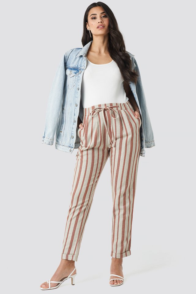 Milla Striped Pants Red