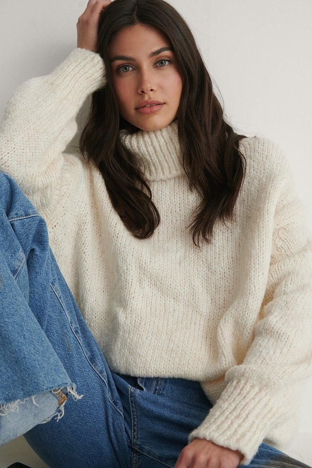 Ecru Milla Turtleneck Knit Sweater