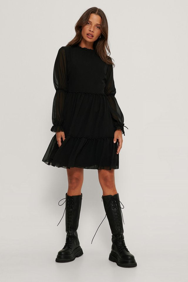Mini Mesh Sleeve Dress Black