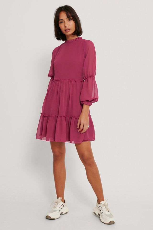 Mini Mesh Sleeve Dress Damson