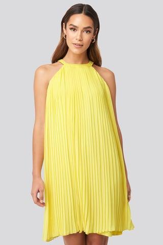 Yellow Mini Pleated Detail Dress