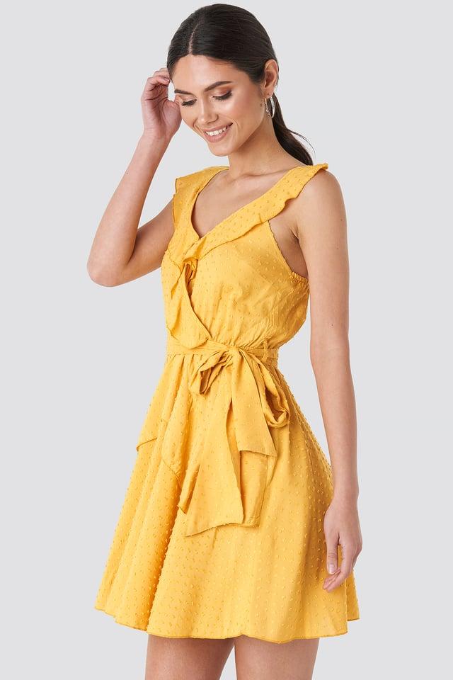 Mustard Frilly Binding Dress Mustard