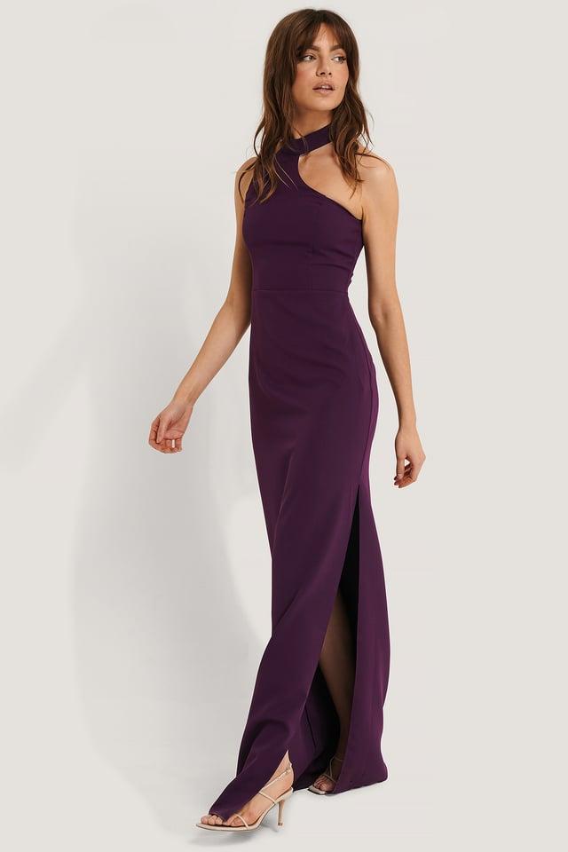 Purple Maxiklänning Med Detaljer
