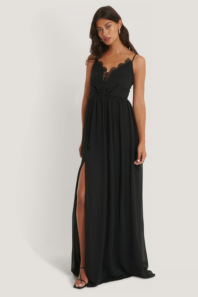 Neck Detailed Evening Dress Black