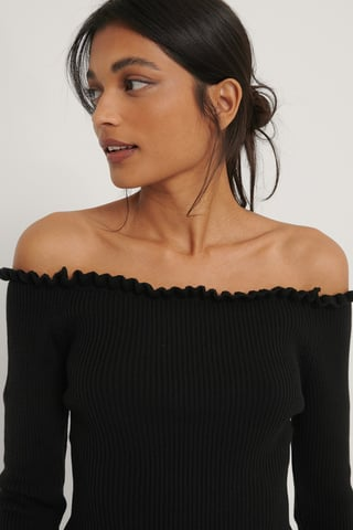 Black Off-Shoulder Stickad Tröja