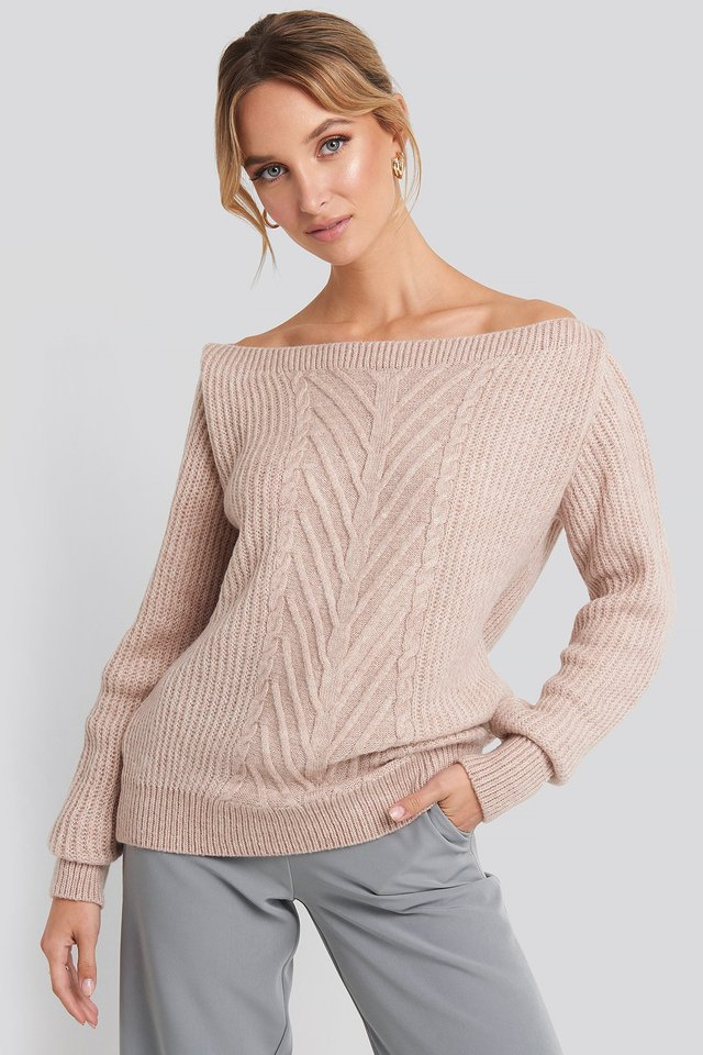 Powder Pink Off Shoulder Knitted Sweater