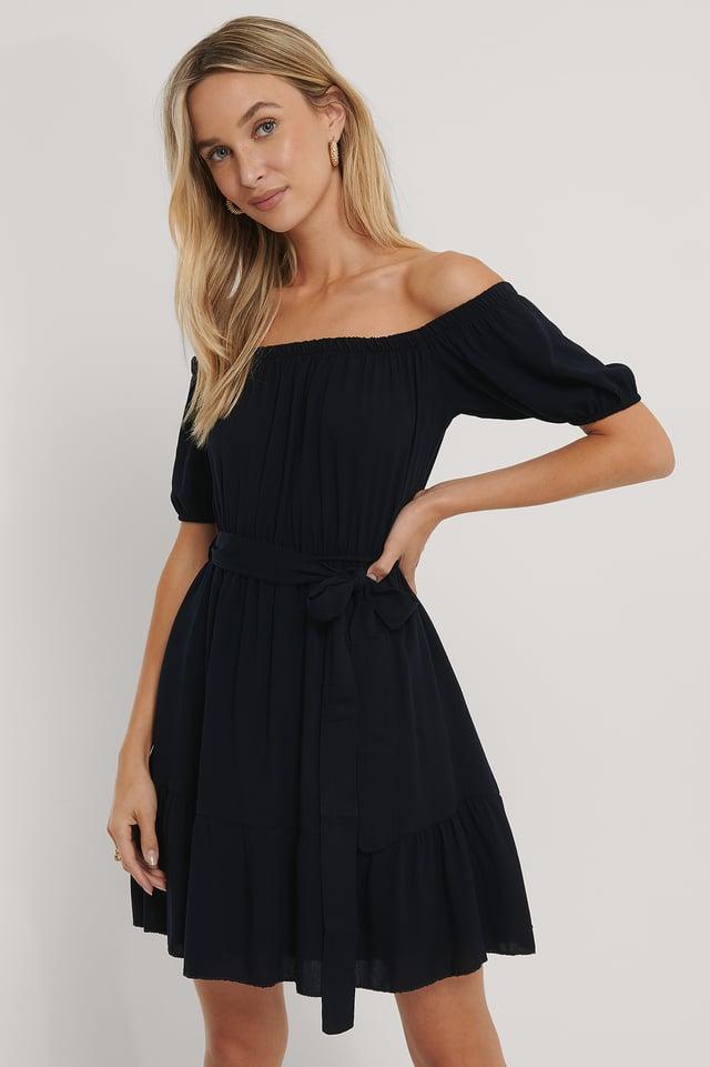 Off Shoulder Mini Dress Indigo