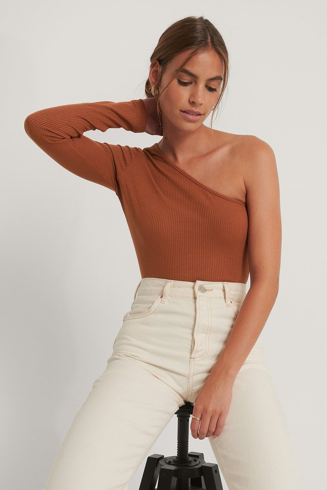 One Shoulder Knitted Top Cinnamon