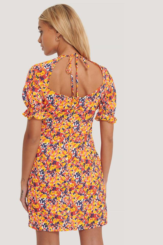 Open Back Flower Mini Dress Multicolor