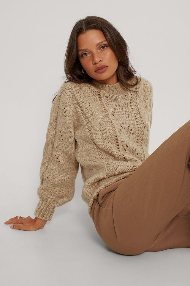 Langarm-Pullover Mit Muster Camel