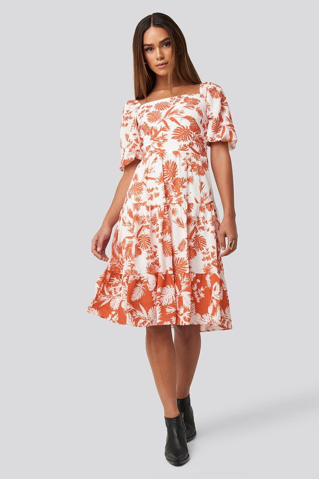 Orange Patterned Midi Dress Orange