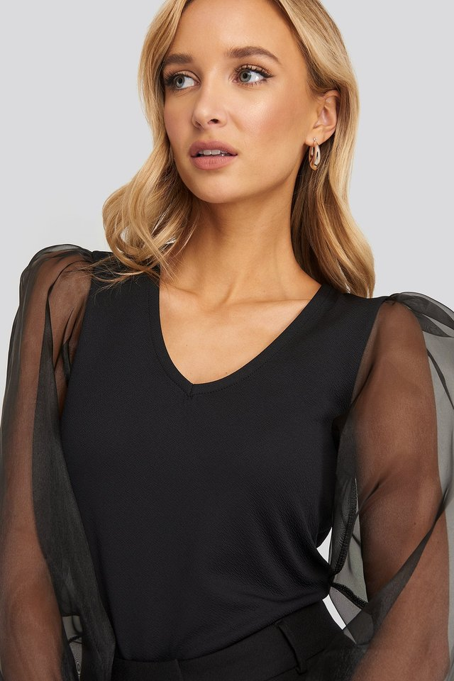 Organza Detailed Blouse Black
