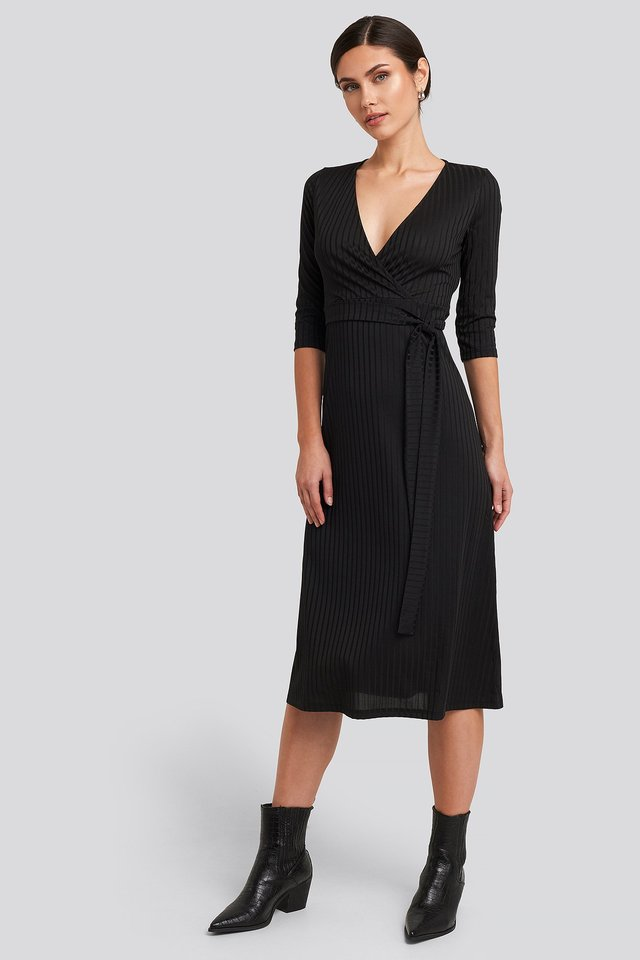 Overlap Detailed Midi Dress Black