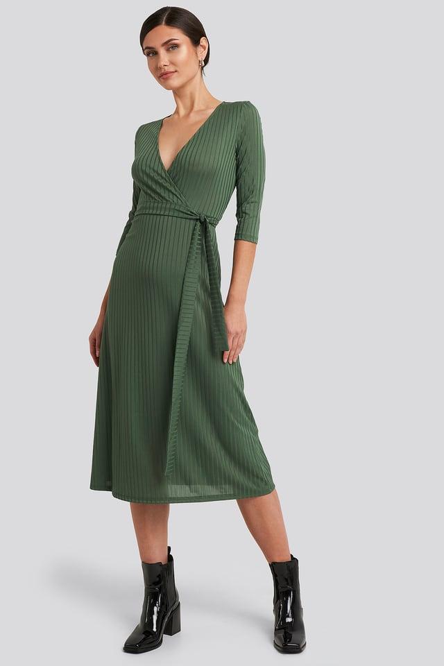 Overlap Detailed Midi Dress Khaki
