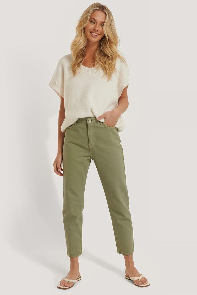 Pastel High Waist Mom Jeans Khaki