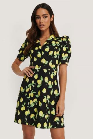 Black Patterned Balloon Sleeve Mini Dress