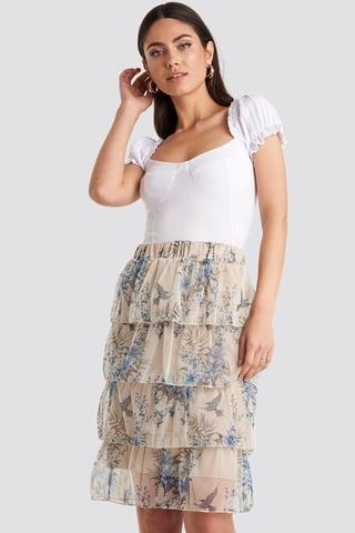 Cream Patterned Midi Skirt