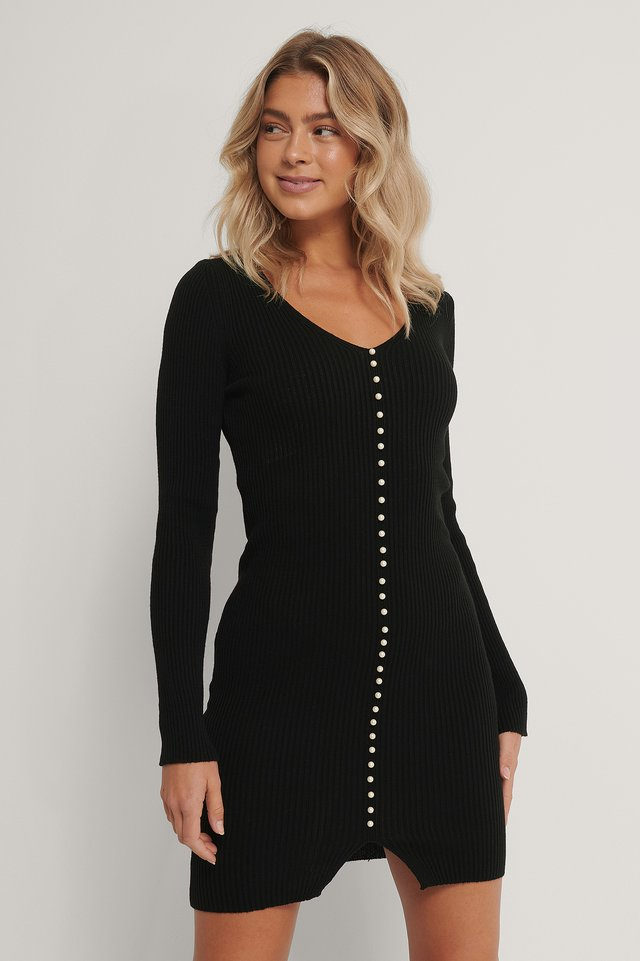 Pearl Detail Ribb Dress Black