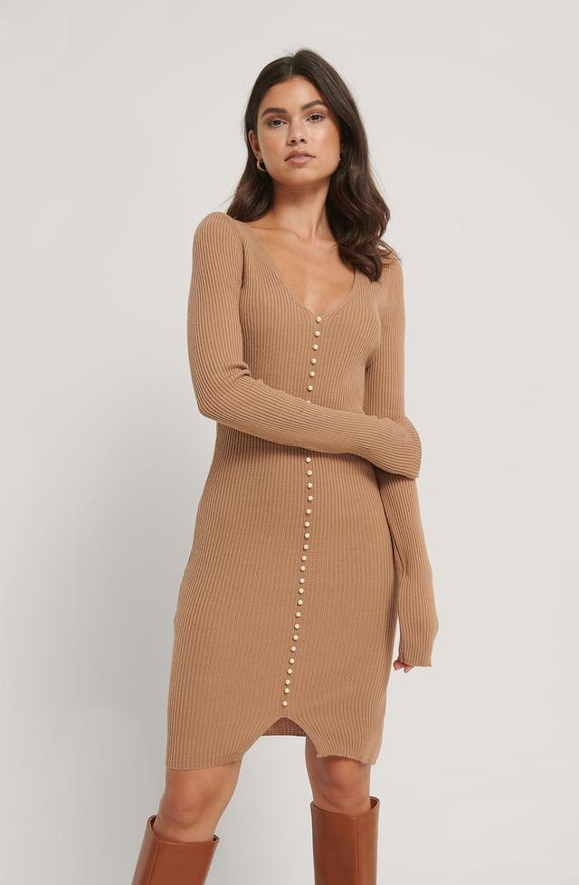 Mink Pearl Detail Ribb Dress