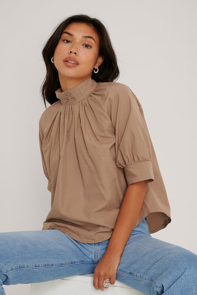 Camel Pearl Detail Blouse