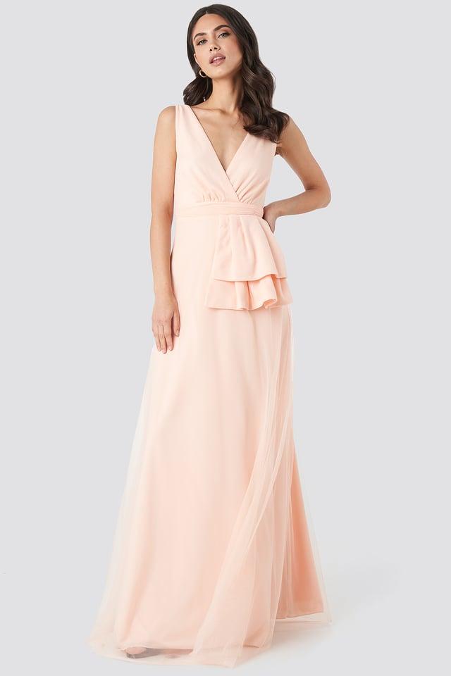 Peplum Detailed Evening Dress Trendyol