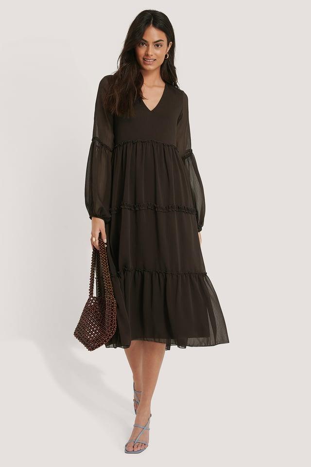 Pleated Detail Flounce Dress Trendyol