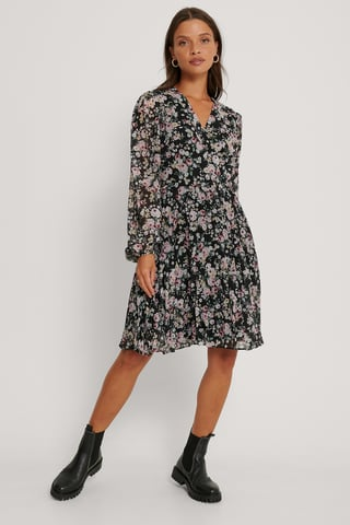 Black Pleated Printed Mini Dress