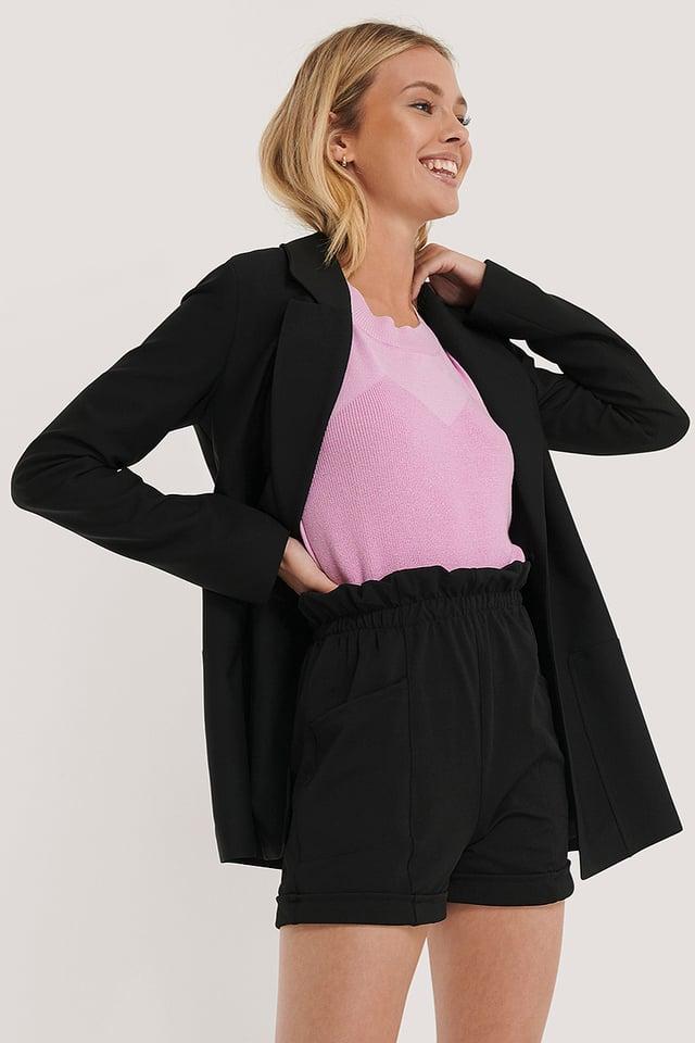 Black Pocket Detail Bermuda Shorts