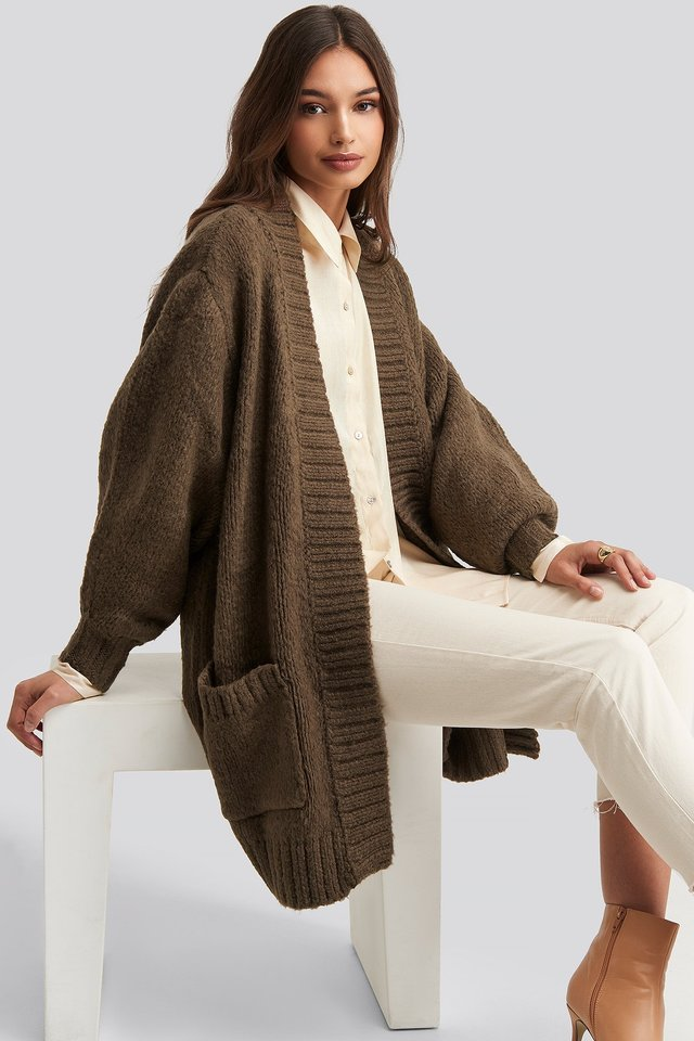 Pocket Detailed Cardigan Brown