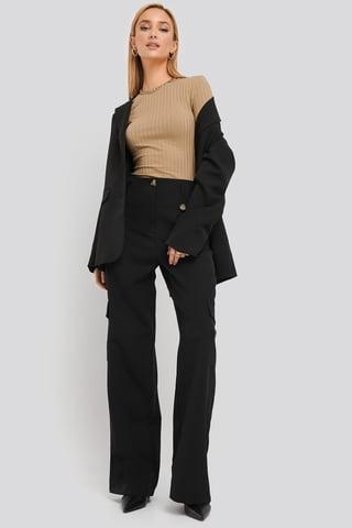 Black Pocket Detailed Trousers