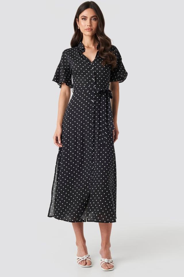 Polka Dot Midi Dress Black