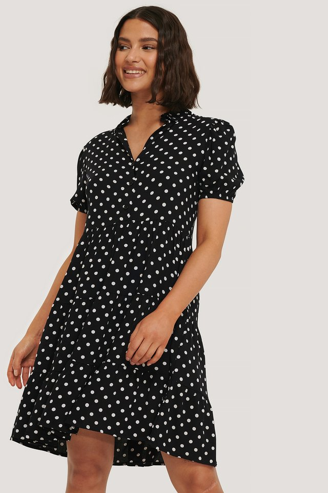 Black Polka Dot Mini Dress
