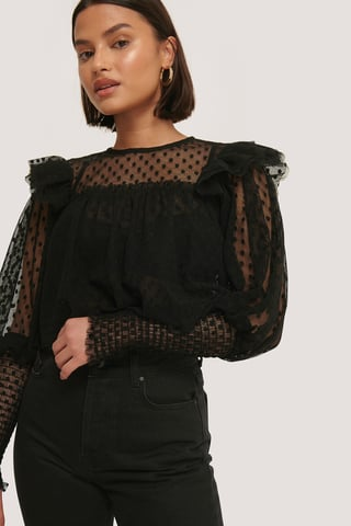 Black Polka Dot Tulle Blouse