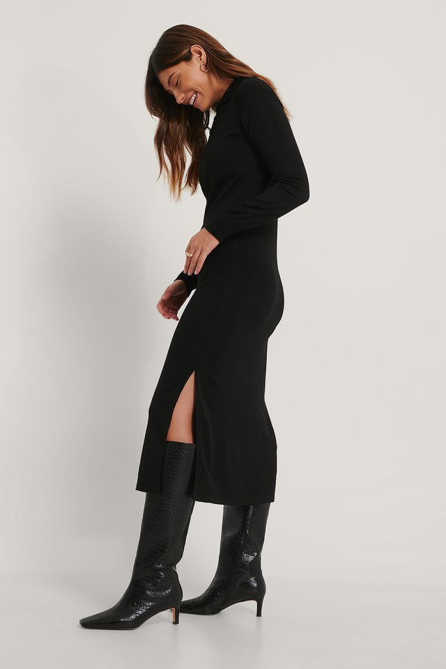 Poloneck Knit Midi Dress Black