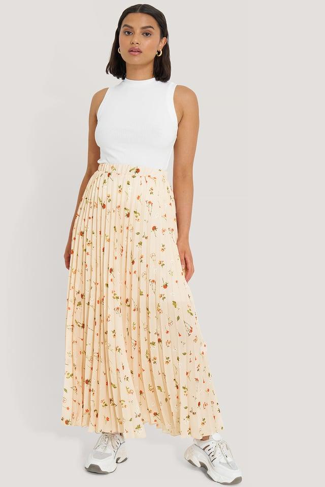 Powder Pink Powder Flower Maxi Skirt