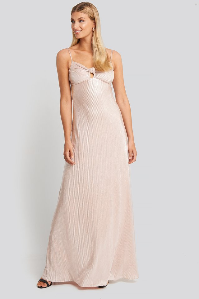 Powder Neck Detail Evening Dress Powder Pink