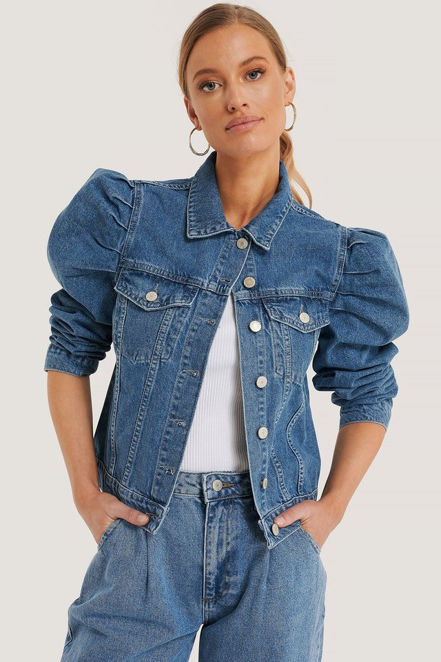 Puff Sleeve Denim Jacket Blue