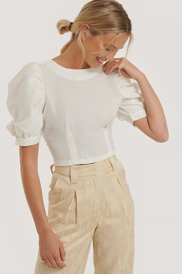 Puff Sleeve Top White